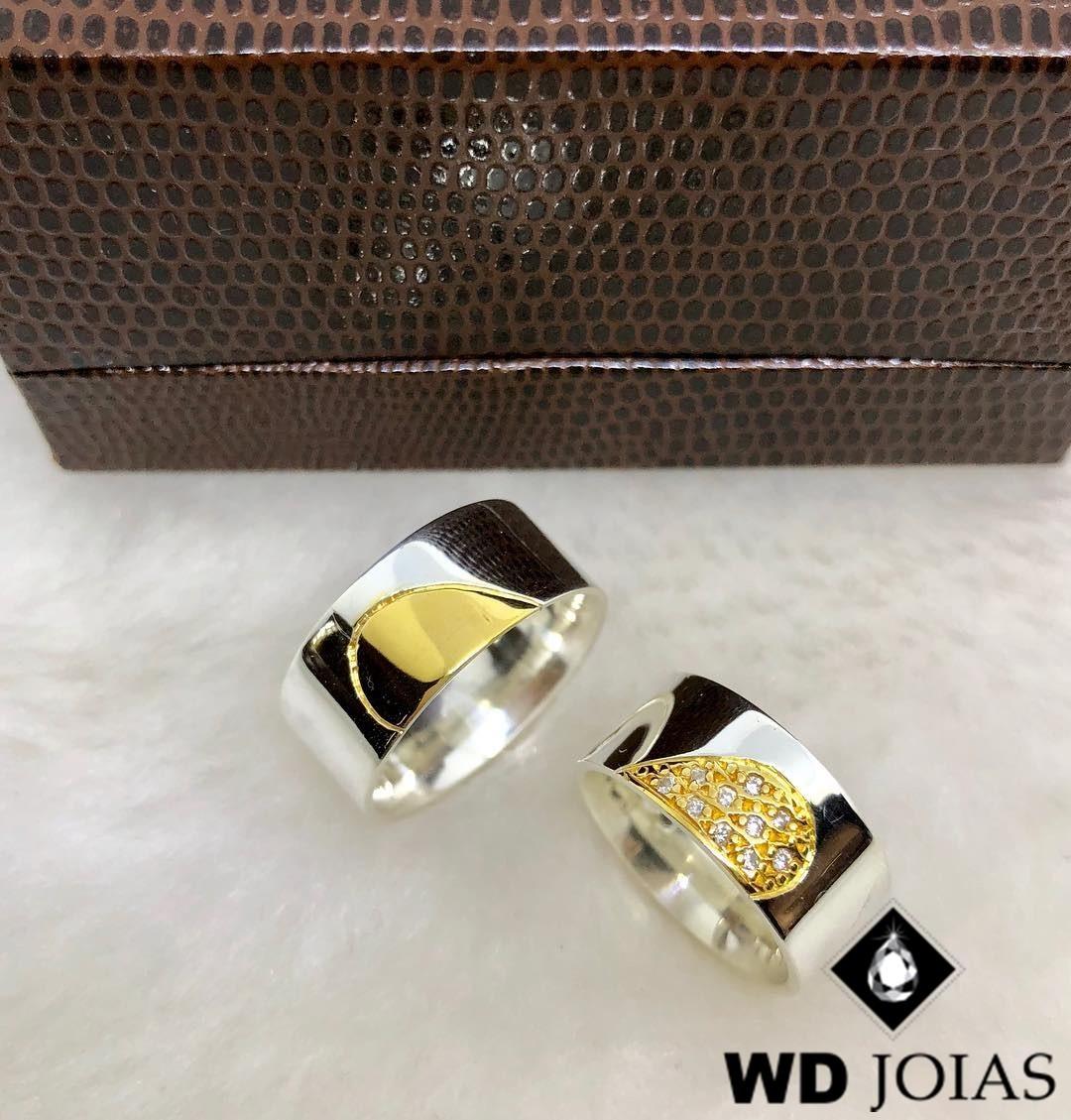 Alianças Compromisso Prata e Ouro Polidas 9mm 20g MJP69