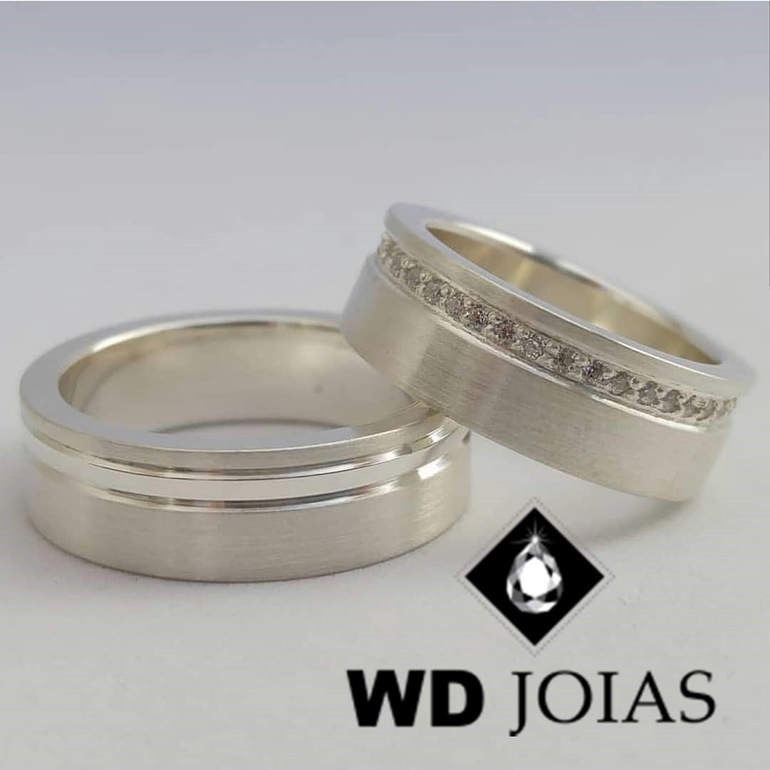 Alianças Compromisso Prata Fosco Acetinado 7mm 16g MJP63