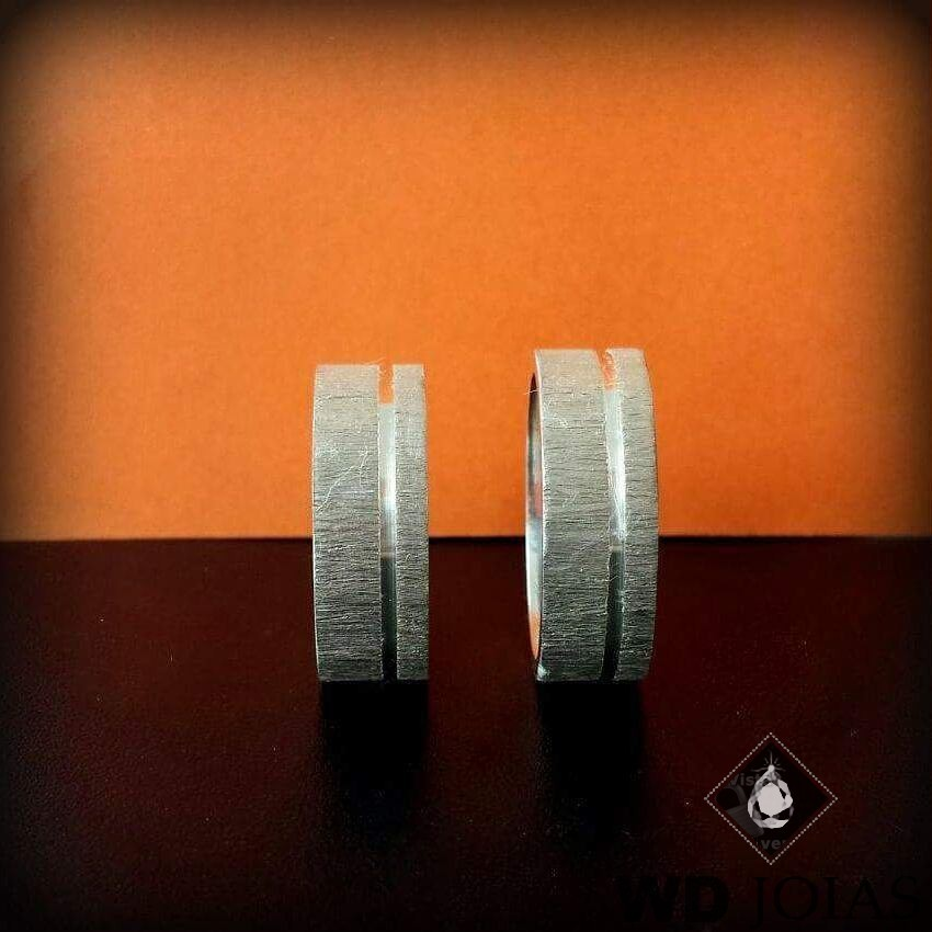 Alianças Compromisso Prata Fosco Rústico 7mm 12g MJP01
