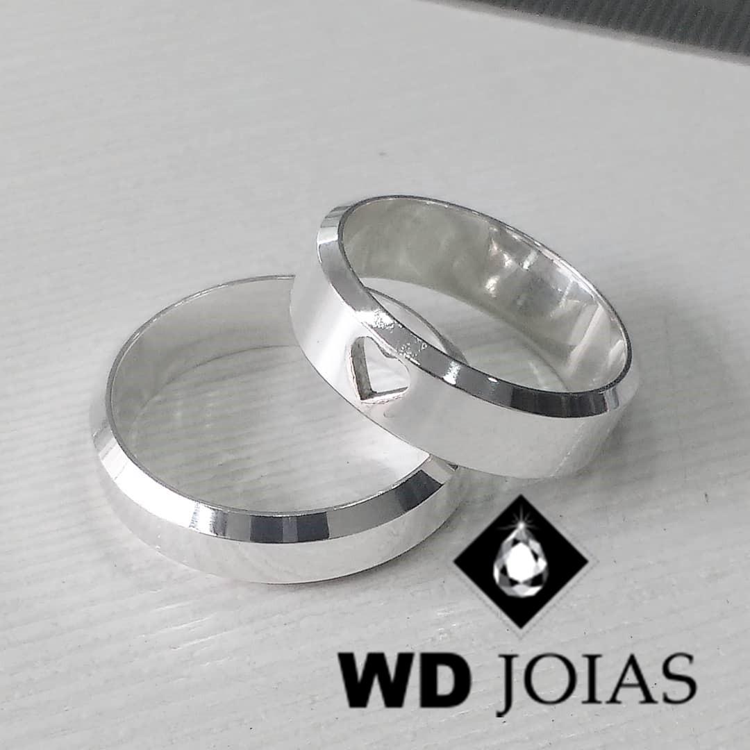 Alianças Compromisso Prata Italiana Polidas 7mm 14g MJP51