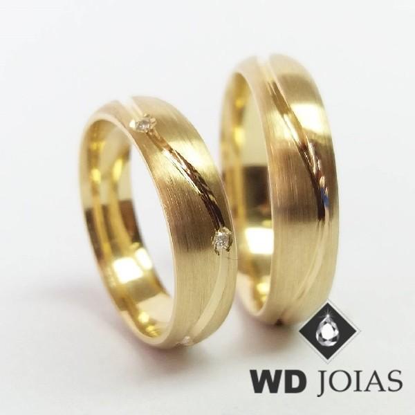 Alianças de Casamento Ouro Abaulada e Foscas 7mm 15g WD8932