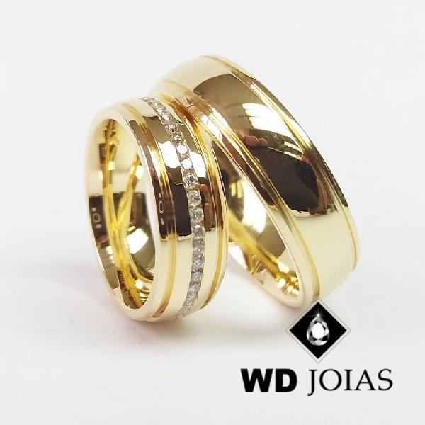 Alianças de Casamento Ouro Abaulada e Polida 7mm 18g WD8812