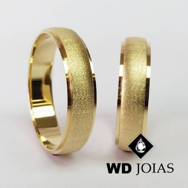 Alianças de Casamento Ouro Abaulada Fosco 6mm 12g WD8776