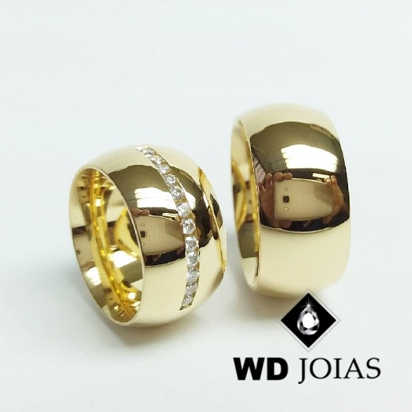 Alianças de Casamento Ouro Abaulada Polida 10mm 26g WD8857
