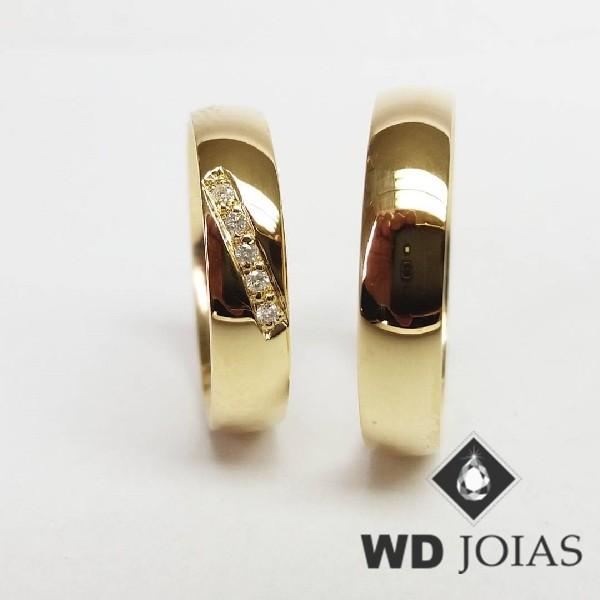 Alianças de Casamento Ouro Abaulada Polidas 5mm 10g WD8870