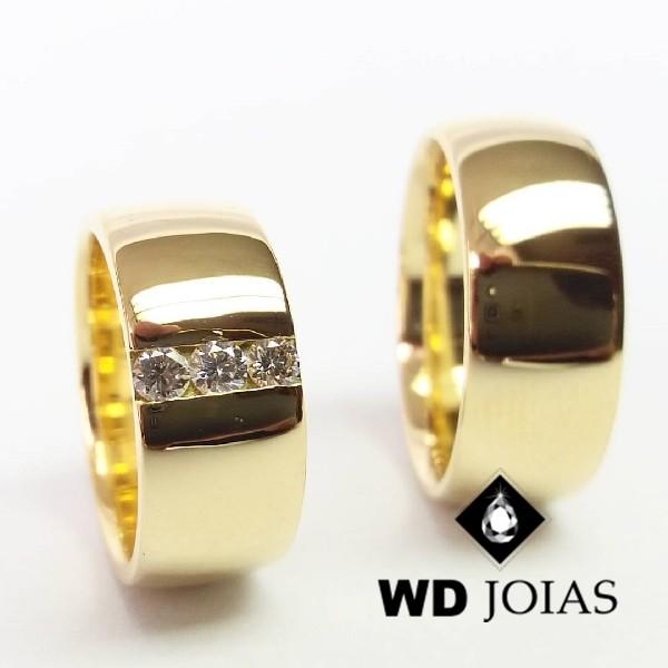 Alianças de Casamento Ouro Abaulada Polidas 9mm 23g WD8832