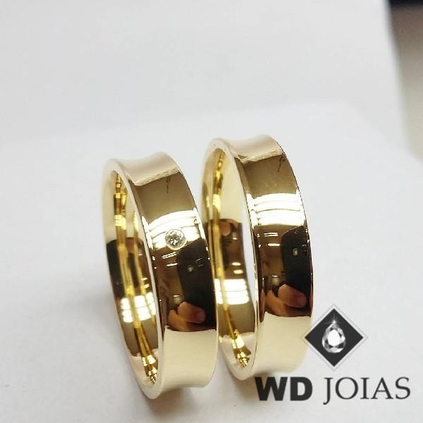 Alianças de Casamento Ouro Anatômica Côncava 5mm 12g WD8863