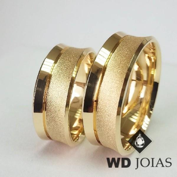Alianças de Casamento Ouro Anatômica Côncava 8mm 20g WD8862