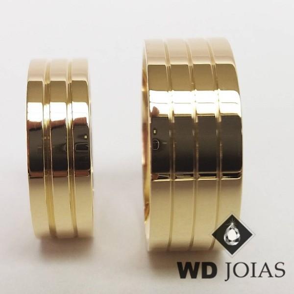 Alianças de Casamento Ouro Anatômica e Polidas 19g WD8866