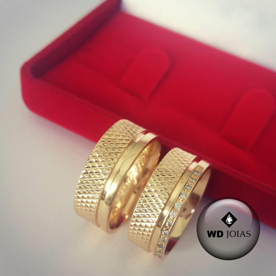 Alianças de Casamento Ouro Bordada e Polida 8mm 22g WD8772