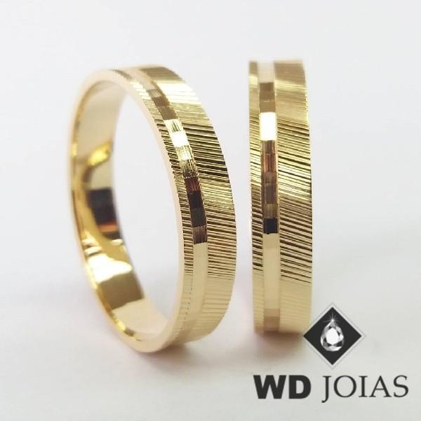 Alianças de Casamento Ouro Bordadas 6mm 10g WD8930