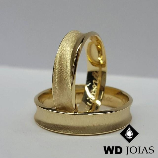 Alianças de Casamento Ouro Côncava e Fosco 5mm 12g WD8852