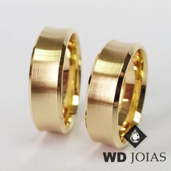 Alianças de Casamento Ouro Côncava Fosco 16g WD8864
