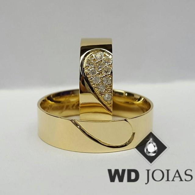 Alianças de Casamento Ouro Coração Polidas 6mm 12g WD8851