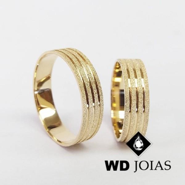 Alianças de Casamento Ouro Diamantada 7mm 15g WD8809