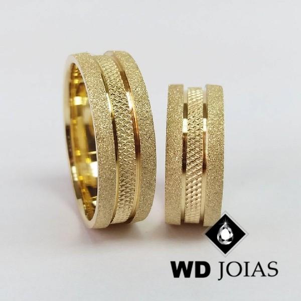 Alianças de Casamento Ouro Diamantada e Bordado 20g WD8828