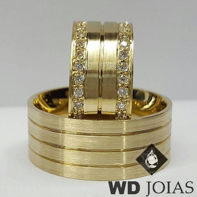 Alianças de Casamento Ouro Fosca e Quadrada 10mm 25g WD8838
