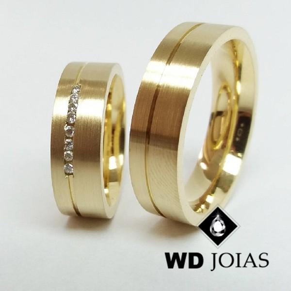 Alianças de Casamento Ouro Fosco Acetinado 6mm 14g WD8813