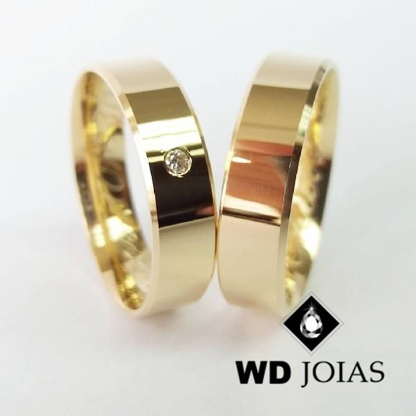 Alianças de Casamento Ouro Italiana Polidas 5mm 12g WD8800