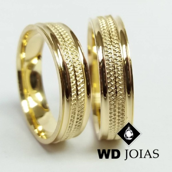 Alianças de Casamento Ouro Polida e Bordado 6mm 14g WD8814