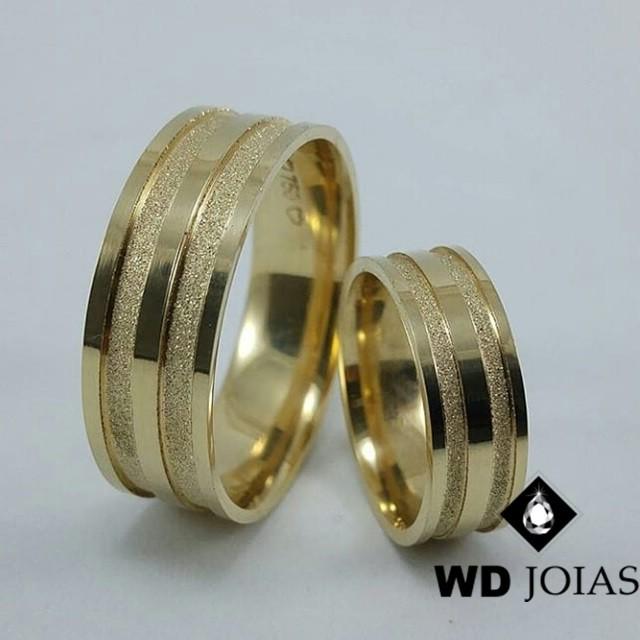 Alianças de Casamento Ouro Polida e Diamantada 18g WD8936