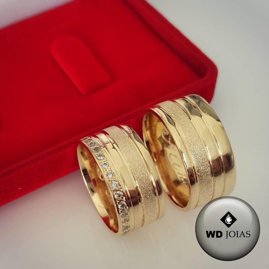 Alianças de Casamento Ouro Polida e Fosca Reta 23g WD8758