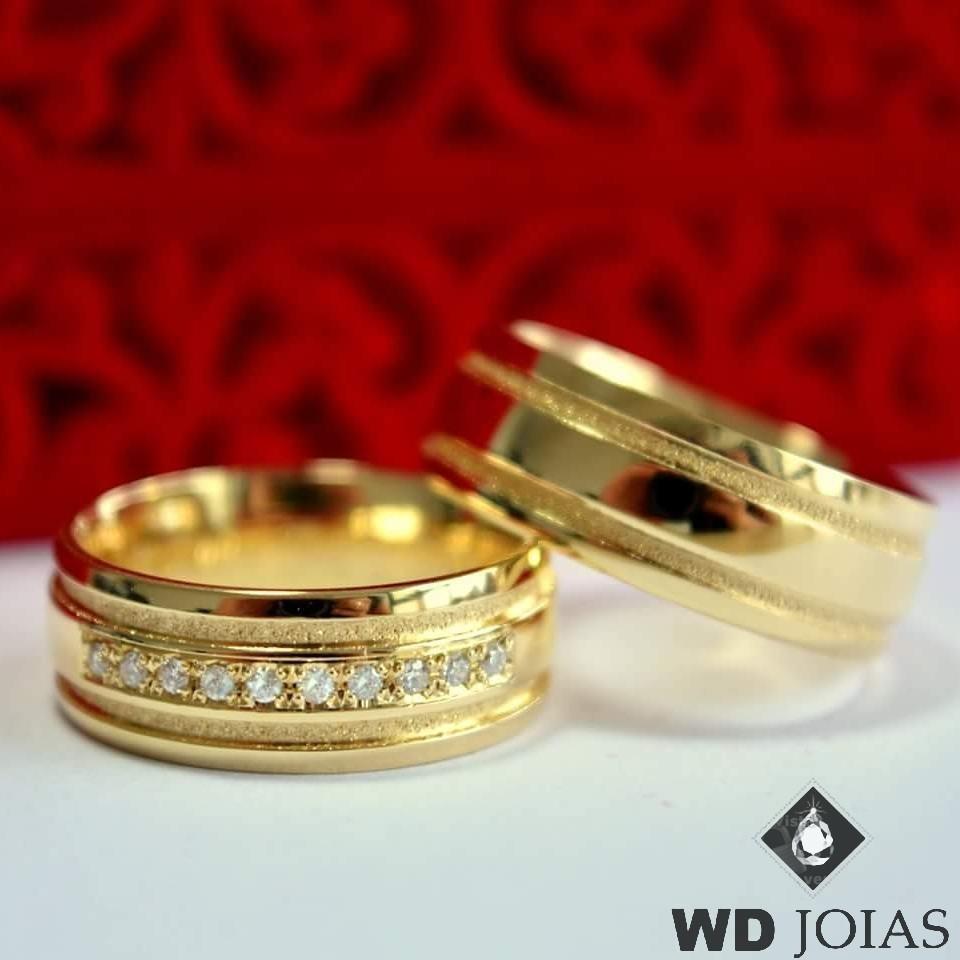Alianças de Casamento Ouro Polida e Fosco 7mm 14g WD8750