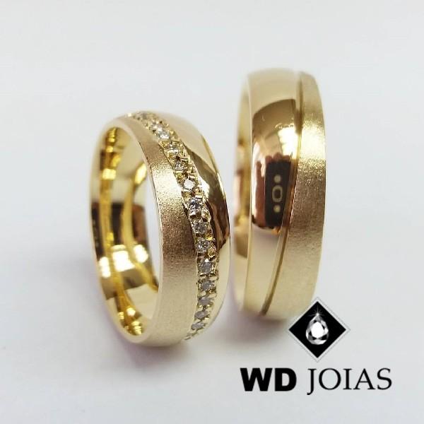 Alianças de Casamento Ouro Polida e Fosco 7mm 16g WD8803