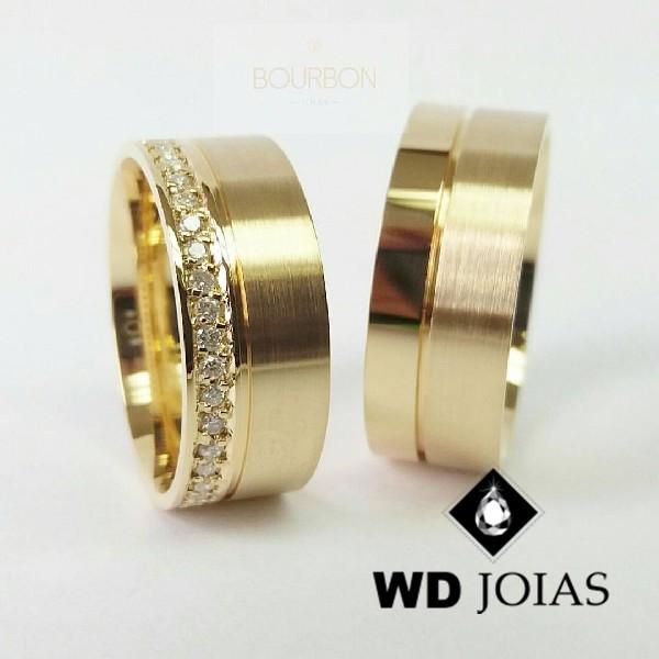 Alianças de Casamento Ouro Polida e Fosco 8mm 22g WD8781