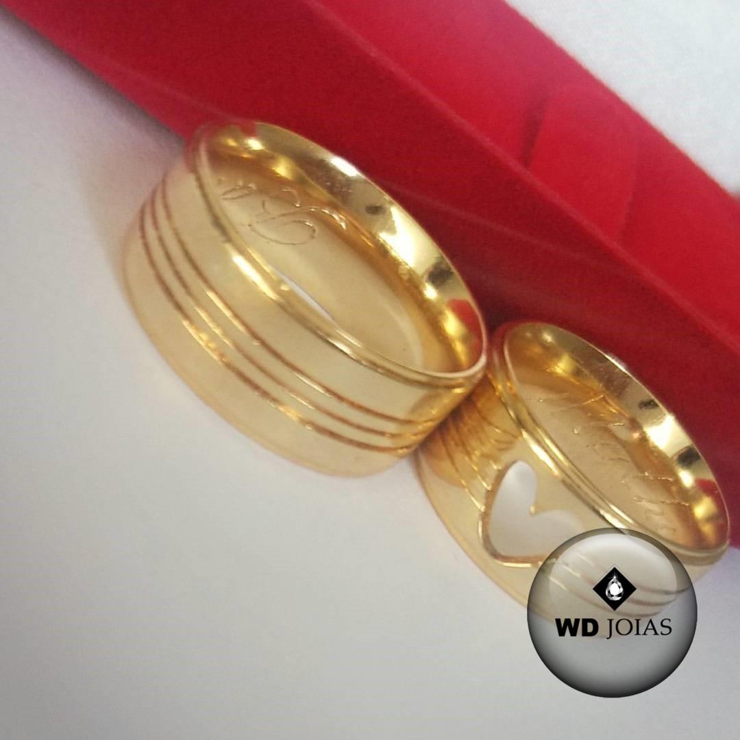 Alianças de Casamento Ouro Polida Quadrada 8mm 21g WD8771