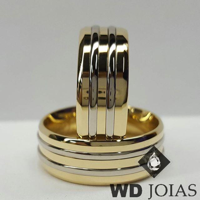 Alianças de Casamento Ouro Polidas 8mm 19g WD8842