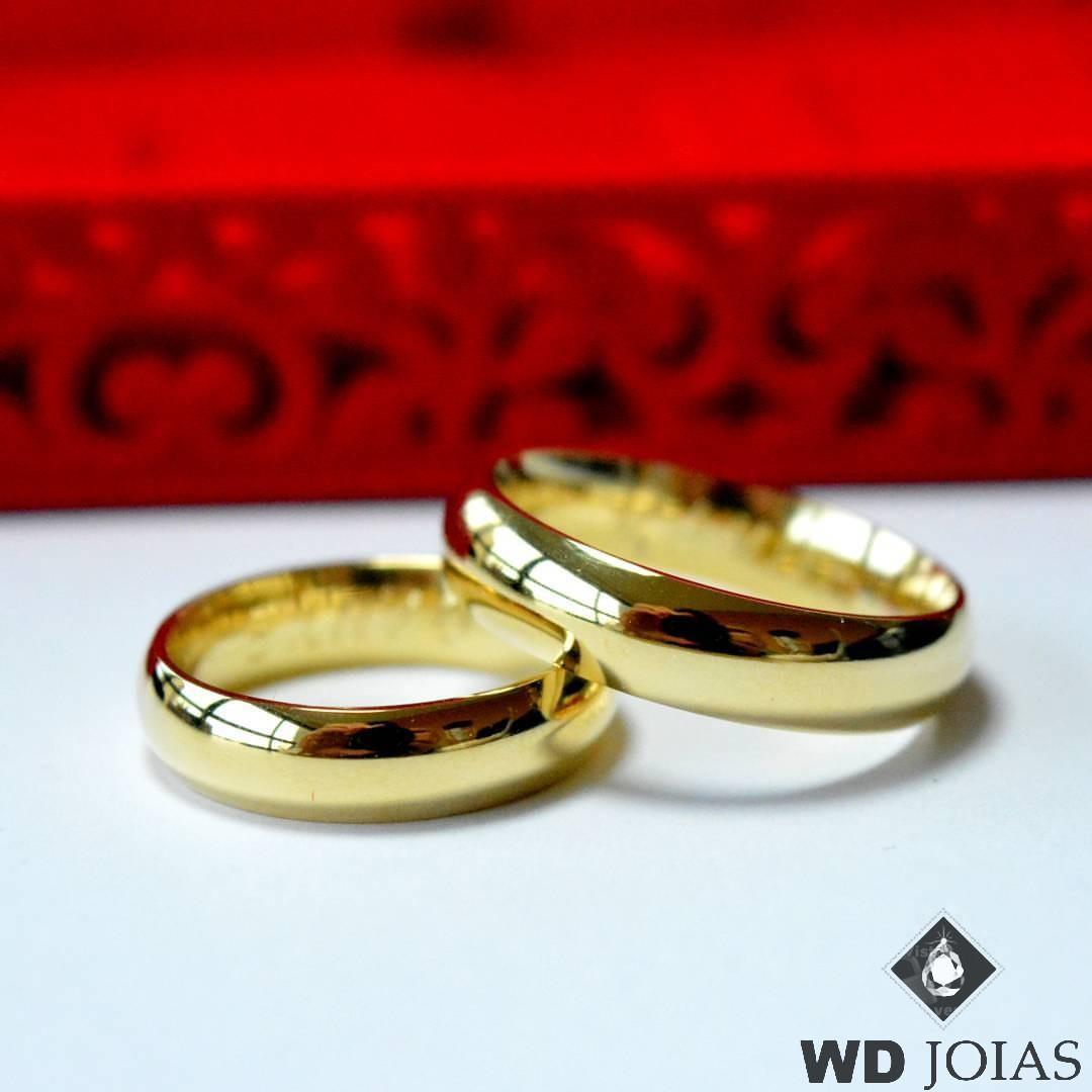 Alianças de Casamento Ouro Polidas Anatômica 4mm 10g WD8739
