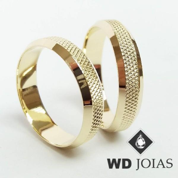 Alianças de Casamento Ouro Polidas e Bordadas 12g WD8931