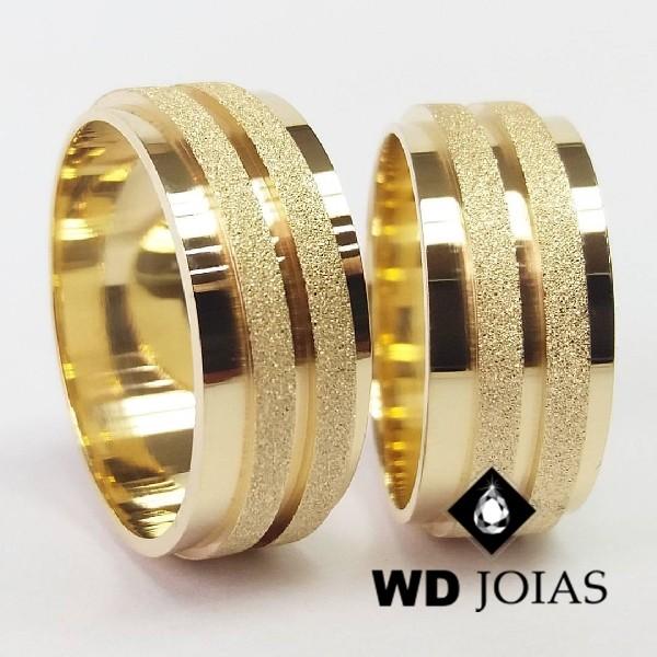 Alianças de Casamento Ouro Polidas e Diamantadas 21g WD8859