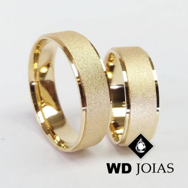 Alianças de Casamento Ouro Polidas e Fosca 7mm 16g WD8816