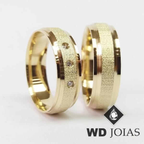 Alianças de Casamento Ouro Polidas e Foscas 7mm 16g WD8927