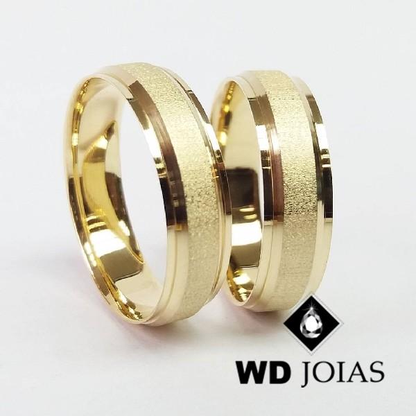 Alianças de Casamento Ouro Polidas e Fosco 7mm 16g WD8811