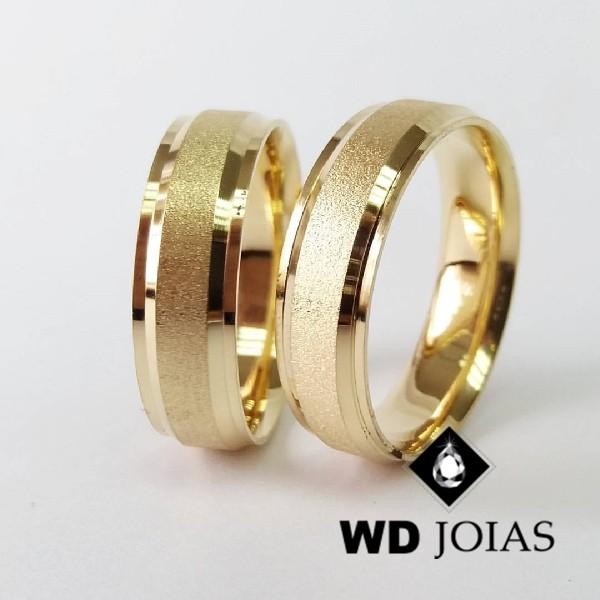 Alianças de Casamento Ouro Polidas e Fosco 7mm 18g WD8791