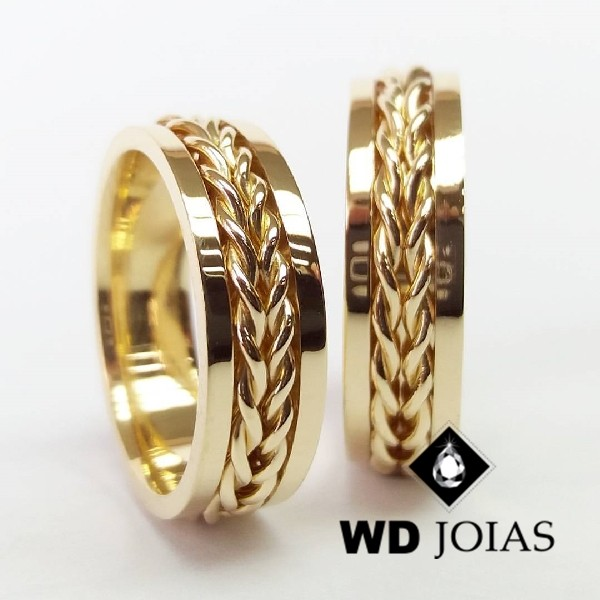Alianças de Casamento Ouro Polidas e Trabalhada 15g WD8854
