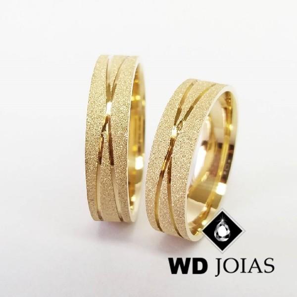 Alianças de Casamento Ouro Quadrada Diamantada 12g WD8801