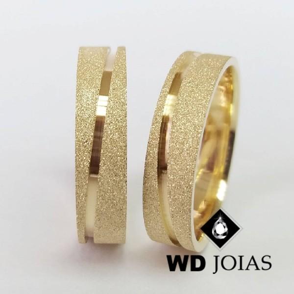 Alianças de Casamento Ouro Quadrada Diamantada 15g WD8798