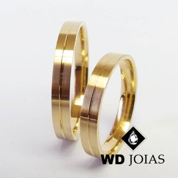 Alianças de Casamento Ouro Quadrada Fosco 4mm 8g WD8796