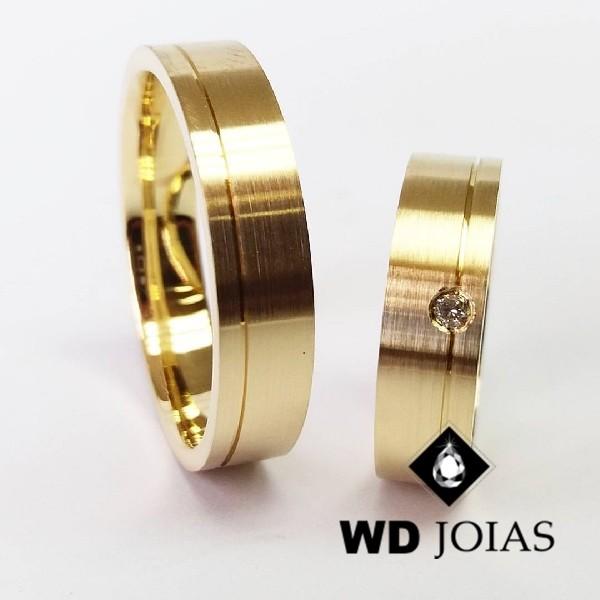 Alianças de Casamento Ouro Quadrada Fosco 5mm 12g WD8795