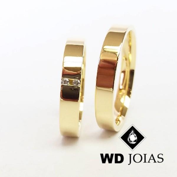 Alianças de Casamento Ouro Quadrada Polidas 3mm 6g WD8831