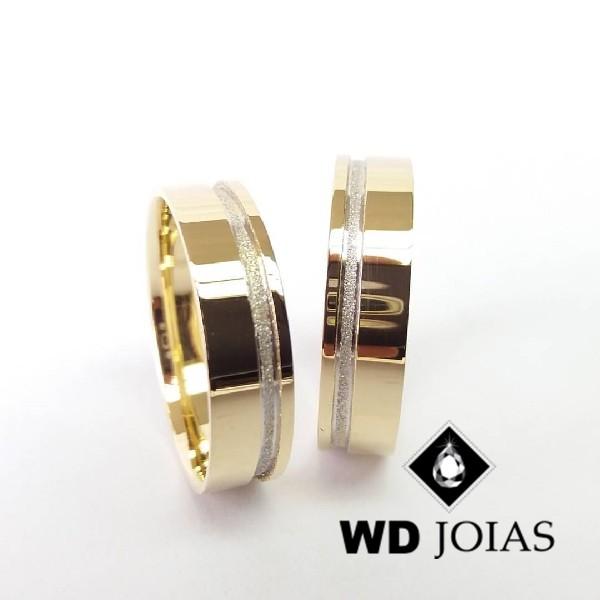Alianças de Casamento Ouro Quadrada Polidas 6mm 13g WD8788