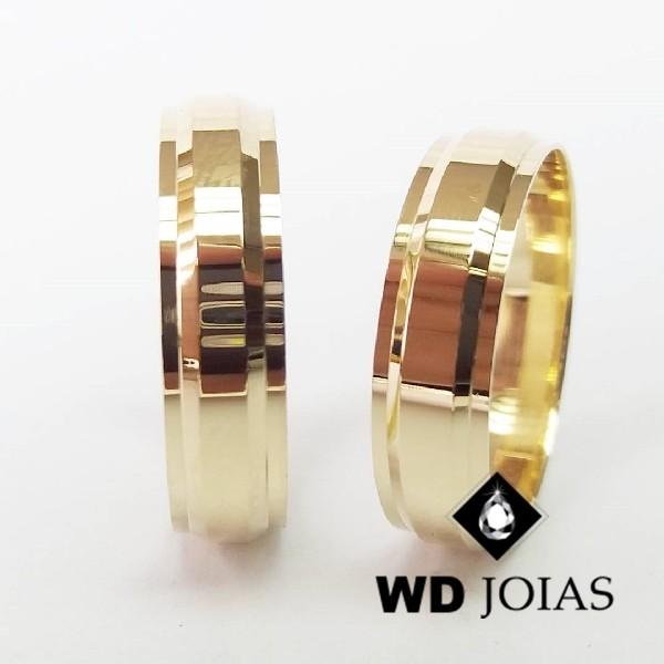 Alianças de Casamento Ouro Quadrada Polidas 7mm 18g WD8789