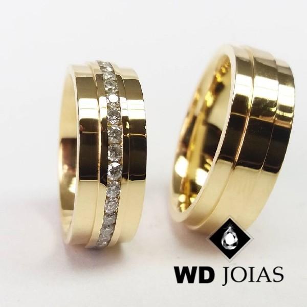 Alianças de Casamento Ouro Quadrada Polidas 8mm 20g WD8858
