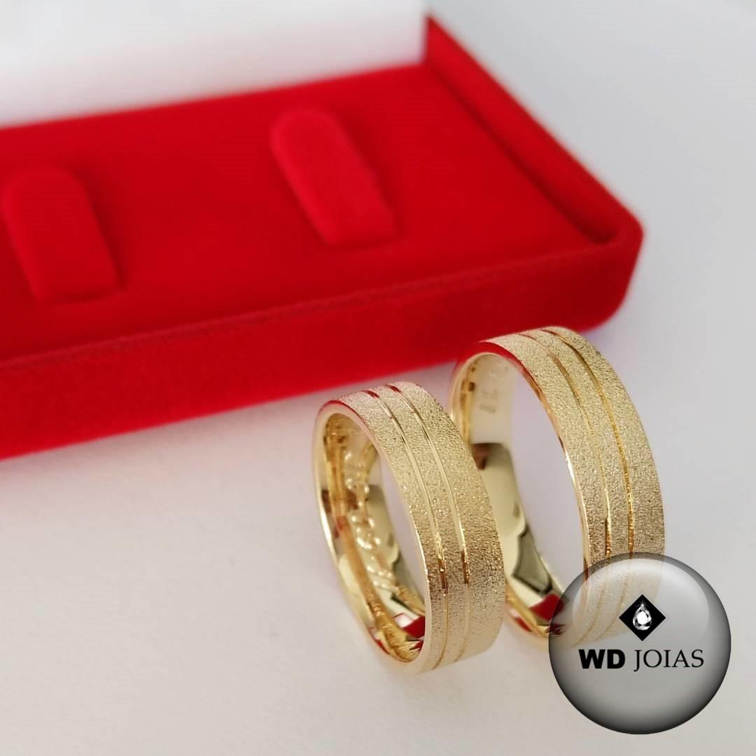 Alianças de Casamento Ouro Reta Anatômica Fosca 15g WD8764