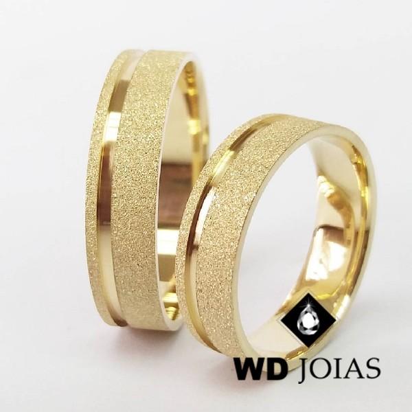 Alianças de Casamento Ouro Reta e Diamantada 7mm 16g WD8786