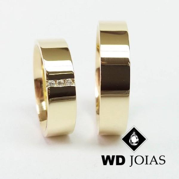 Alianças de Casamento Ouro Tradicional Polidas 14g WD8821